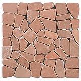 DIVERO Marmor Naturstein-Mosaik Fliesen für Wand Boden Bruchstein rotbraun 11 Matten 30 x 30cm