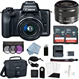 Canon EOS M50 Mirrorless Digital Camera (Black) with 15–45mm f/3.5–6.3 is STM Lens + Advanced Accessory Bundle - M50 Camera Includes Everything You Need to Get Started