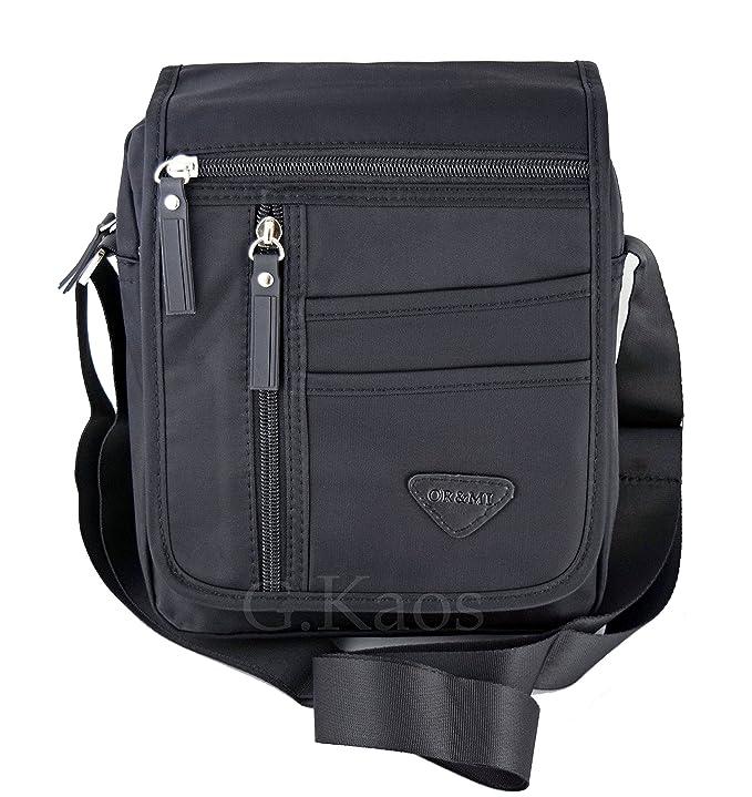 Ormi By G.Kaos - Borsa Borsello Uomo Tracolla Regolabile Nylon Nero -  Multitasche (713 Black)  Amazon.it  Sport e tempo libero 36dcc39efa7