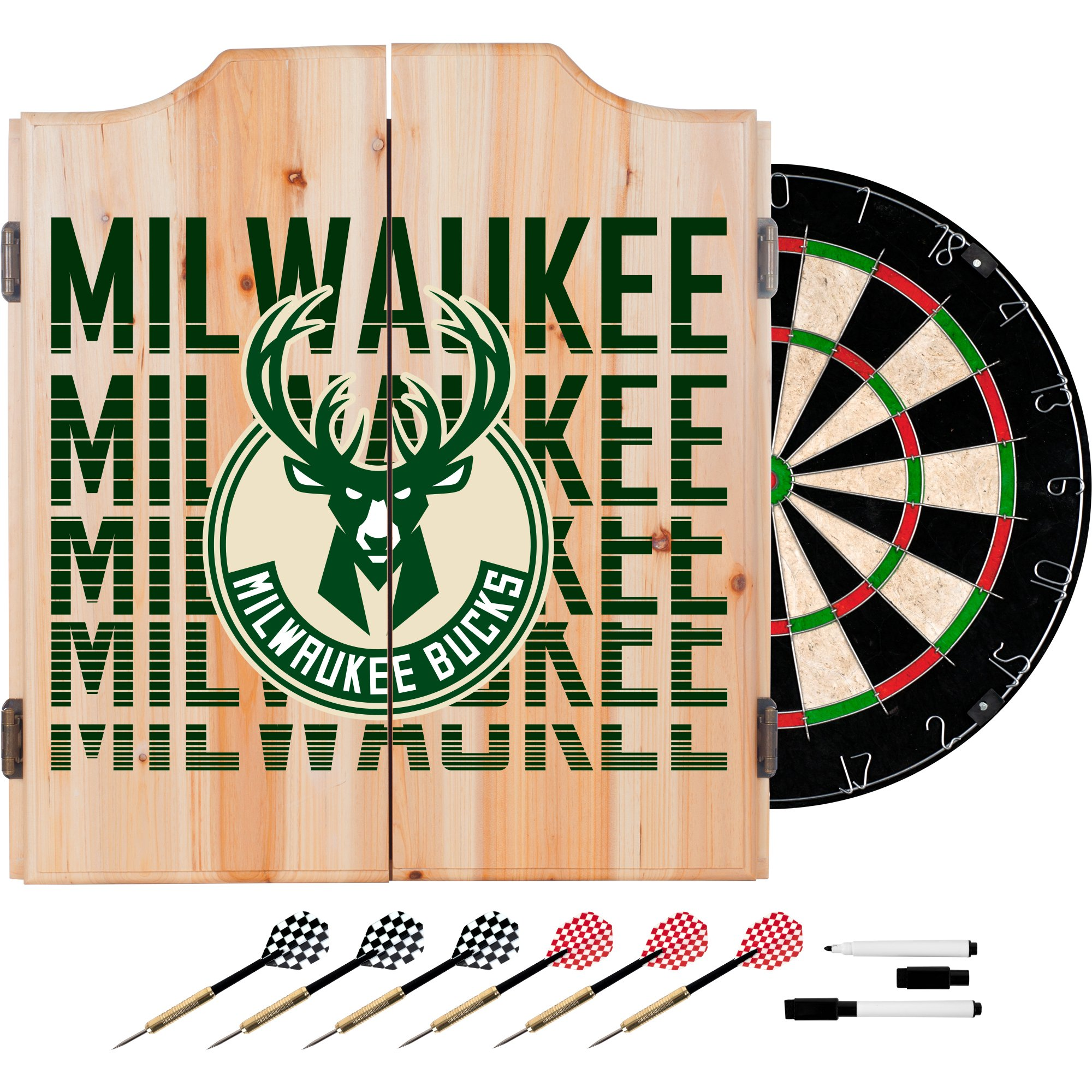 Trademark Gameroom NBA7010-MB3 NBA Dart Cabinet Set with Darts & Board - City - Milwaukee Bucks