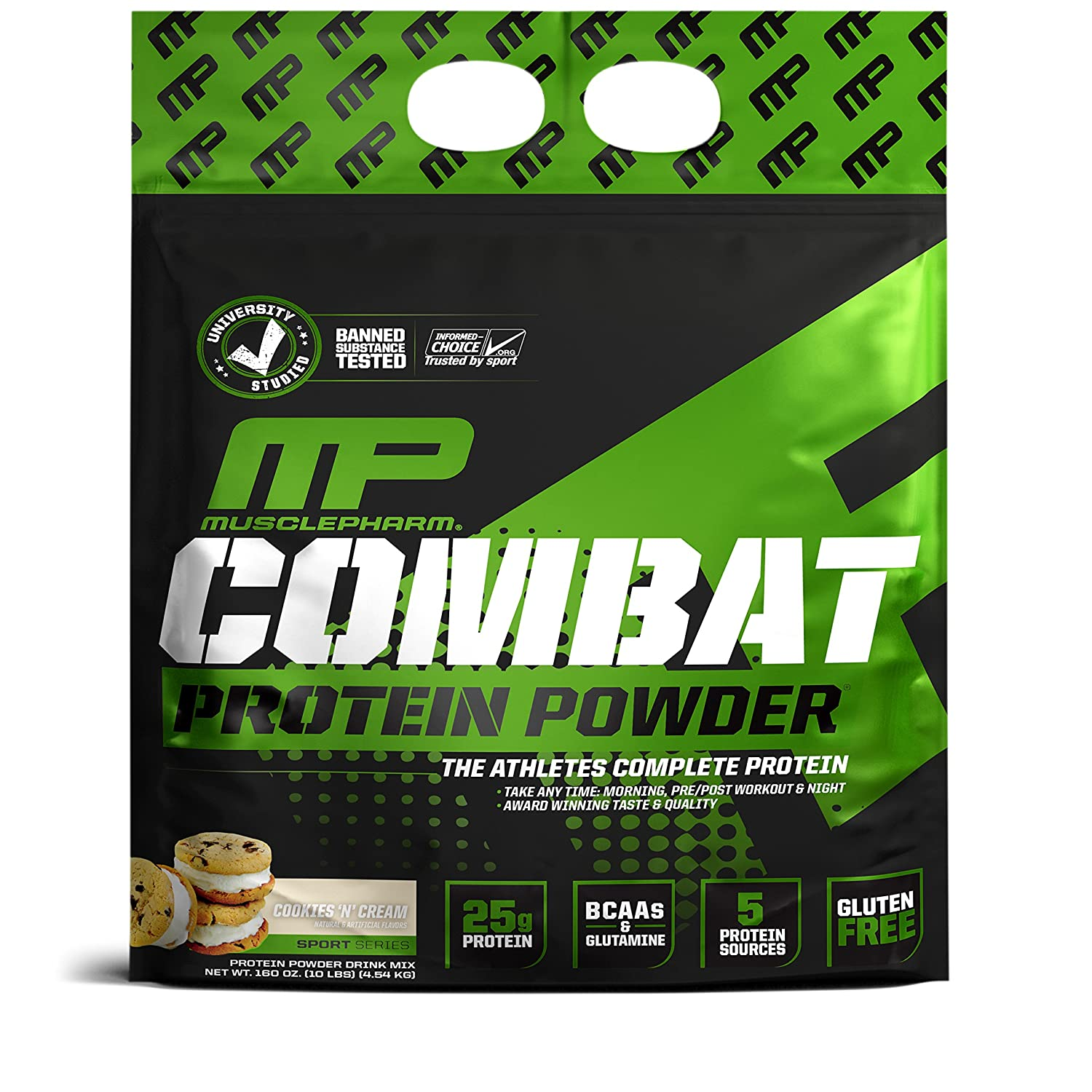 MusclePharm Combat Protein Powder – Essential blend of Whey, Isolate, Casein and Egg Protein with BCAA s and Glutamine for Recovery, Cookies N Cream, 10 Pound