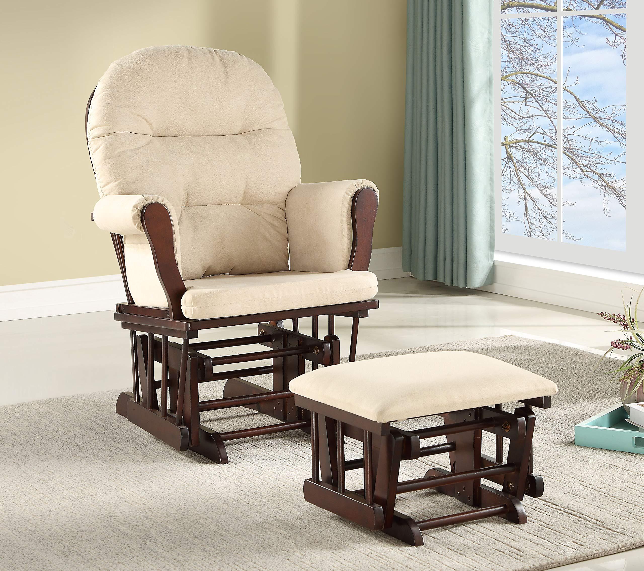 Lennox Furniture Emily Glider Chair & Ottoman Combo, Espresso/Beige, Espresso by Lennox Furniture