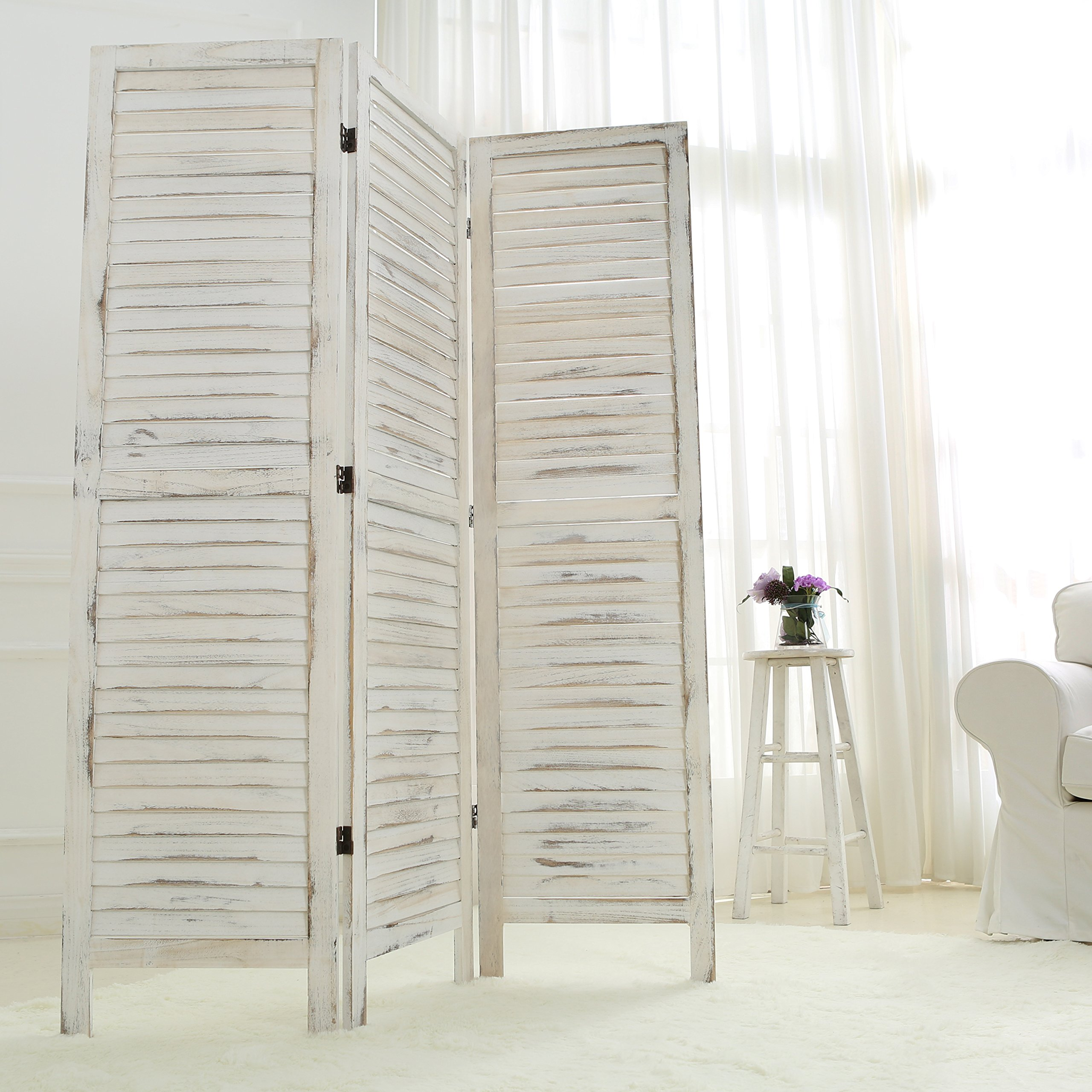 MyGift Whitewashed Wood 3 Panel Screen, Folding Louvered Room Divider by MyGift (Image #3)