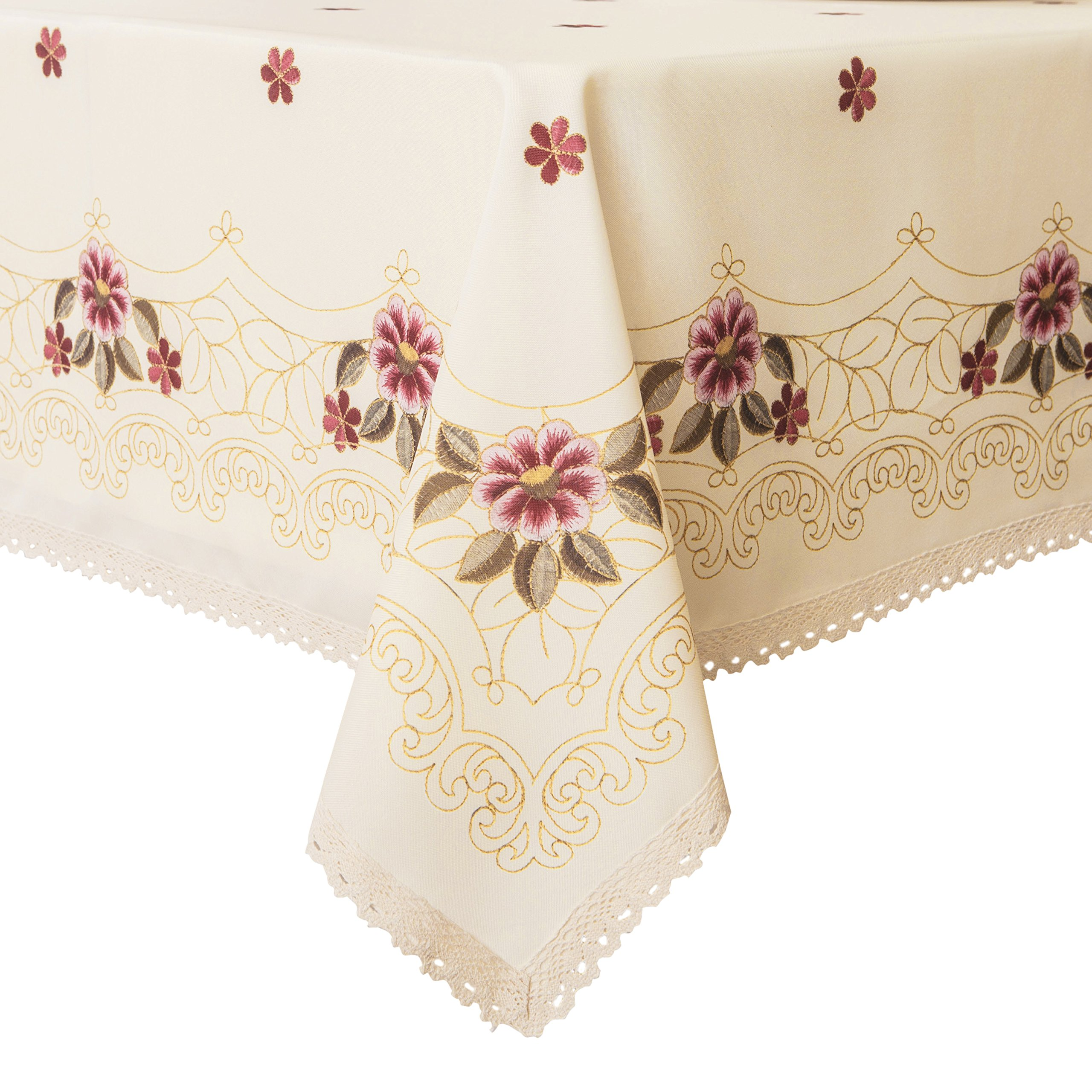 Wewoch Decorative Red Floral Print Lace Water Resistant Tablecloth Wrinkle Free and Stain Resistant Fabric Tablecloths for Kitchen Room 60 Inch by 84 Inch by Wewoch