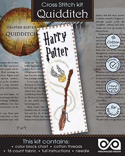 """Harry Potter Cross Stitch Kit /""""Quidditch/"""" DIY Hand Embroidery Bookmark"""