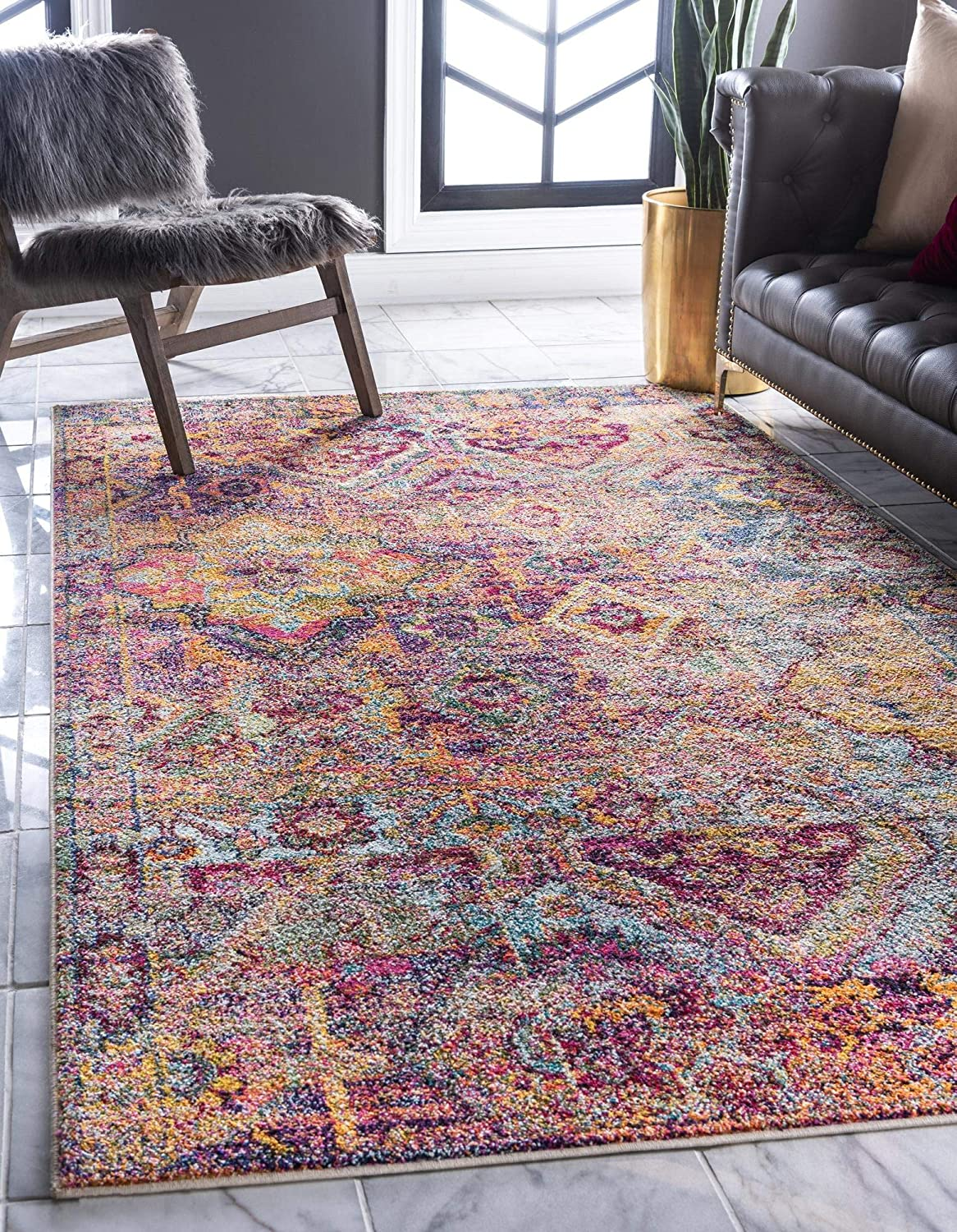 Rugs.com El Paso Collection Rug – 5' x 8' Multi Medium Rug Perfect for Living Rooms, Large Dining Rooms, Open Floorplans