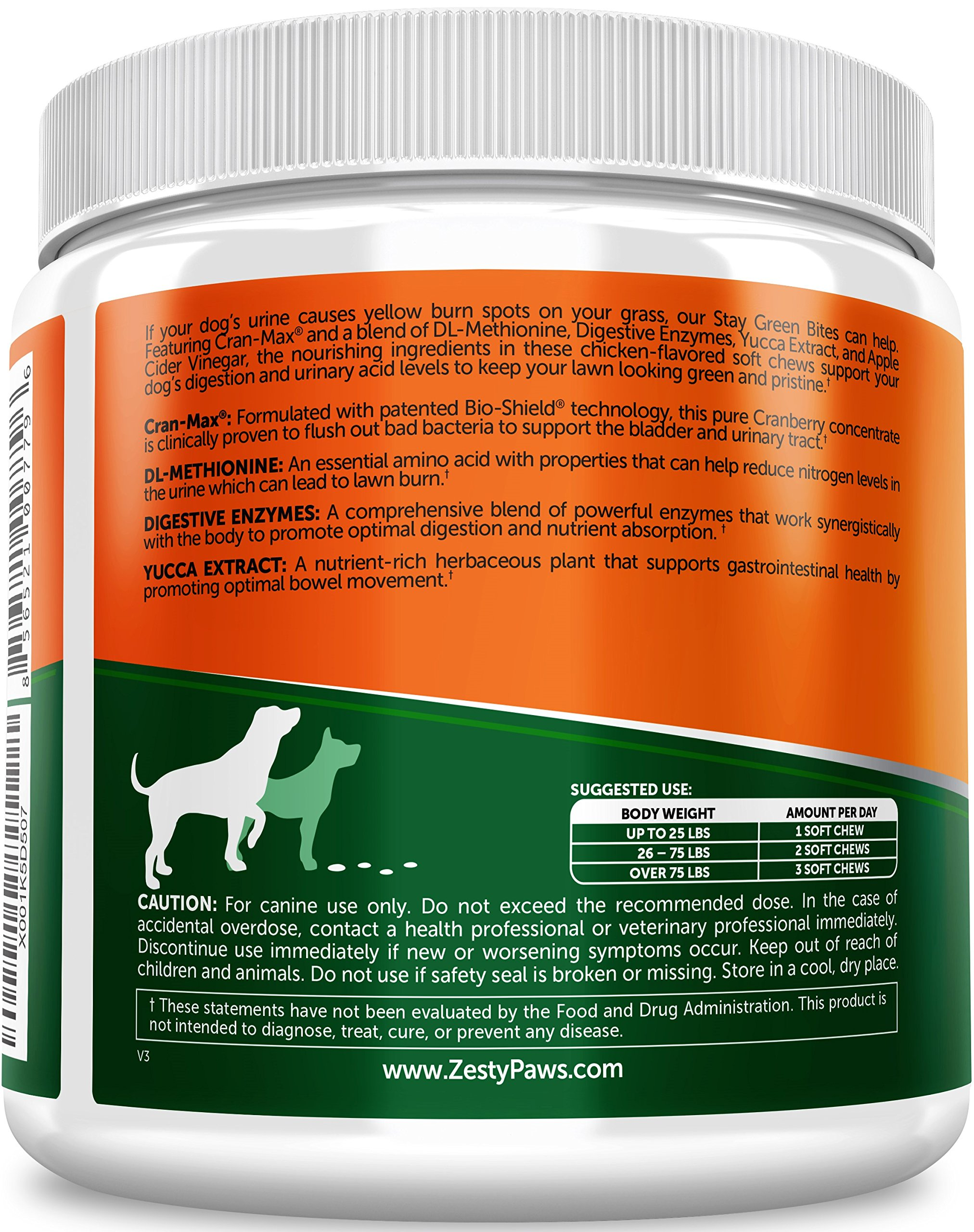 Grass Burn Spot Chews for Dogs - For Lawn Spots Caused by Dog Urine - Cran-Max Cranberry for Urinary Tract, Kidney & Bladder - Apple Cider Vinegar + Digestive Enzymes & DL-Methionine - 90 Chew Treats by Zesty Paws (Image #3)