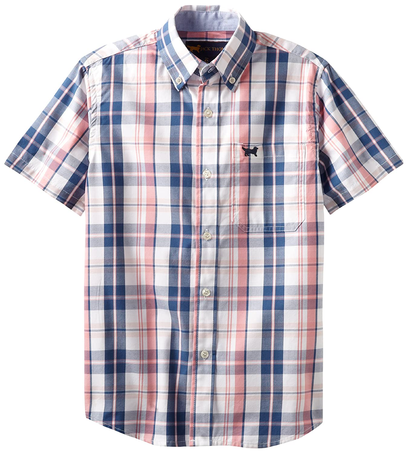 Wes and Willy Big Boys Short Sleeve Pink Plaid Dress Shirt JT032B