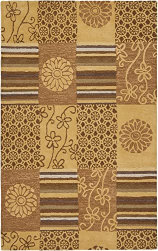 Safavieh Soho Collection SOH818A Handmade Beige and Multi Premium Wool Area Rug 5' x 8'