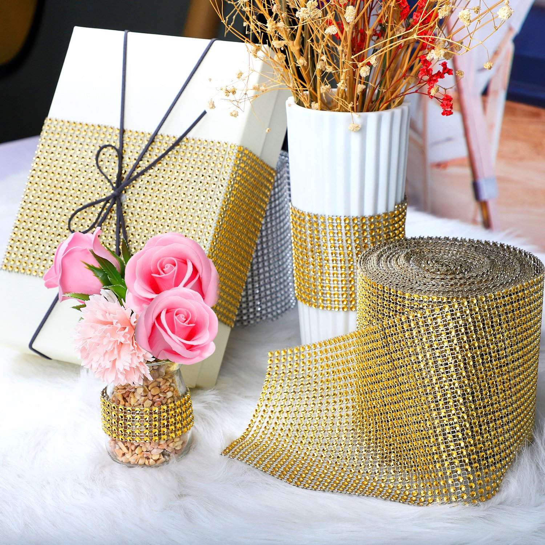 Amazon.com: BEARHORN Diamond Rhinestone Mesh Ribbon, Wedding Ribbon ...