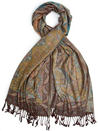 243834c76 Bohomonde, Jyati Scarf, Pashmina Indian Paisley Traditional Jacquard Scarf  - hand made in India