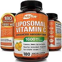 NutriFlair Liposomal Vitamin C 1600mg, 180 Capsules - High Absorption, Fat Soluble VIT C, Antioxidant Supplement, Higher…
