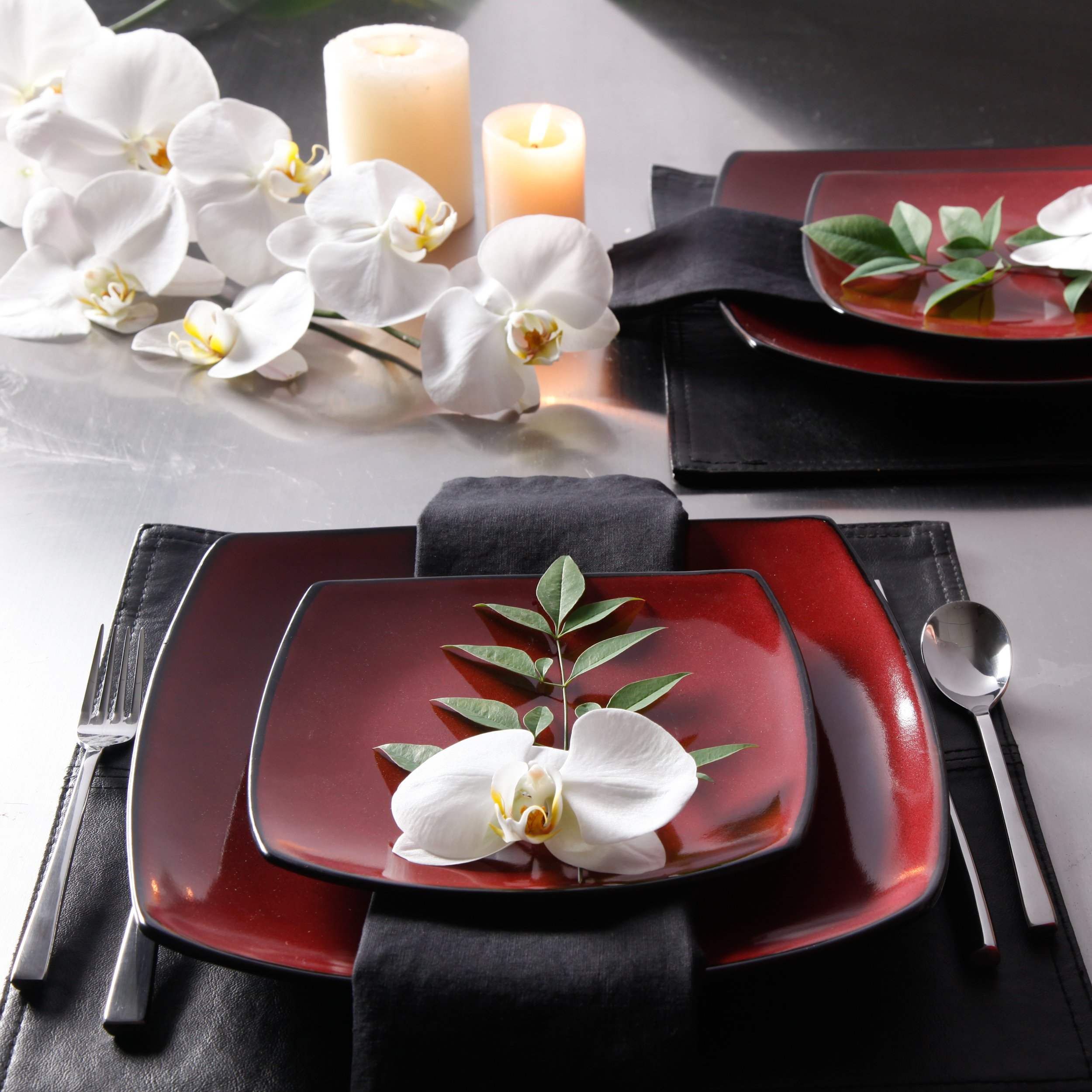 Gibson Elite 61220.16RM Soho Lounge 16-Piece Square Reactive Glaze Dinnerware Set, Red by Gibson (Image #5)