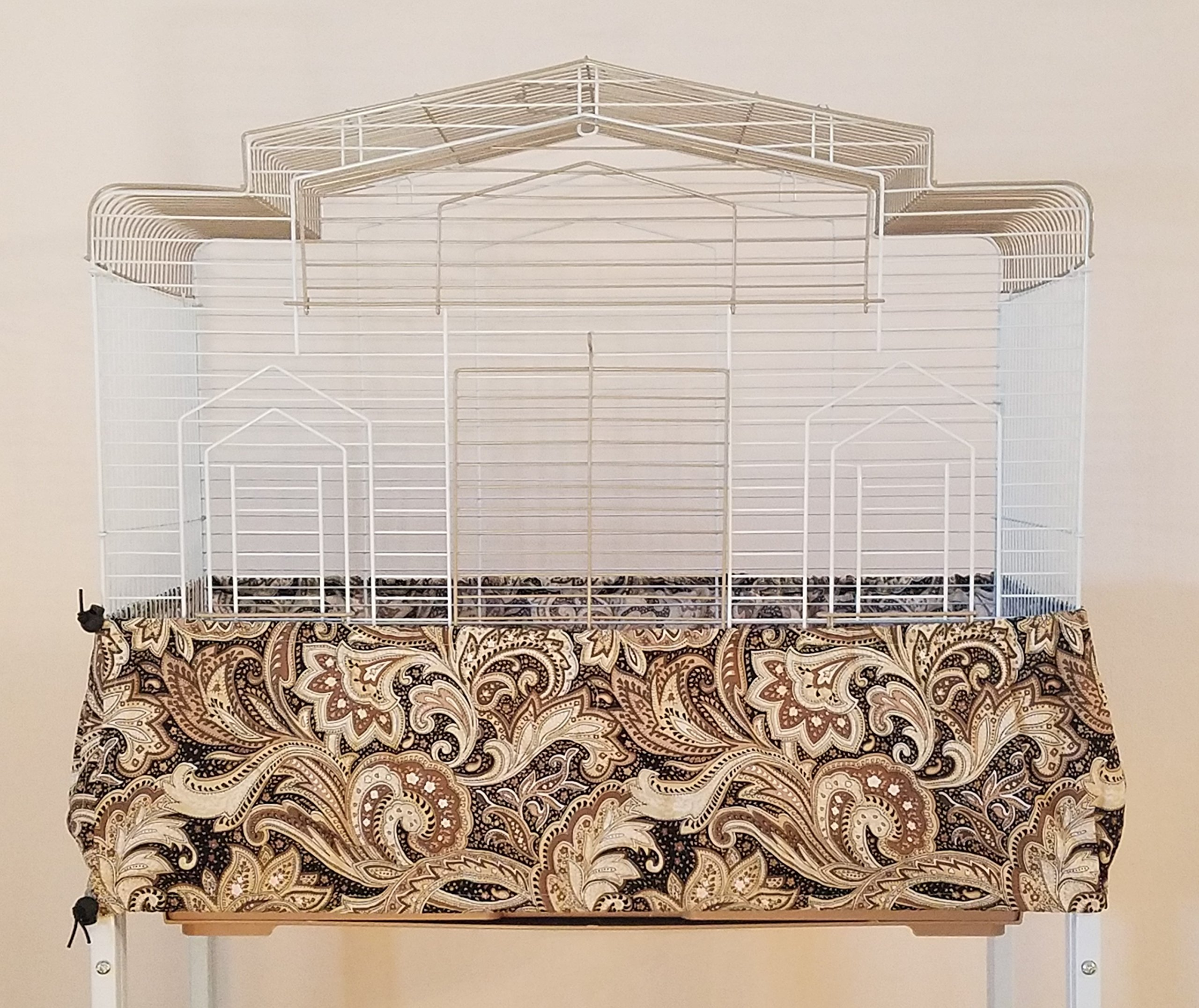 Penn Seed Seed Guard and Catcher Bird Cage Skirt - Black and Khaki Paisley, Extra Large (56''-112'' Cage Circumference)