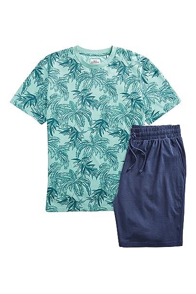 next Hombre Conjunto De Pantalones Cortos De Punto con Estampado De Hojas Verde L