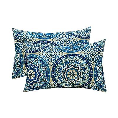 Set of 2 - Indoor/Outdoor Rectangle/Lumbar Decorative Throw/Toss Pillows ~ Wheel Indigo - Blue Ivory Large Sundial: Home & Kitchen