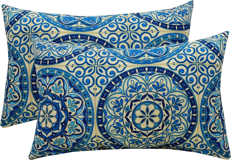 Amazon Com Set Of 2 Indoor Outdoor Rectangle Lumbar Decorative Throw Toss Pillows Wheel Indigo Blue Ivory Large Sundial Home Kitchen