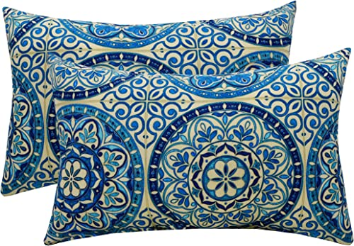Set of 2 – Indoor Outdoor Rectangle Lumbar Decorative Throw Toss Pillows Wheel Indigo – Blue Ivory Large Sundial