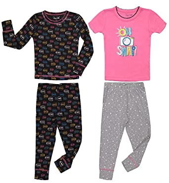 5c566c18fa44 Girls Cute Print Snug Fit Long   Short Sleeve Pajama With Pants Sleepwear  Set (2T
