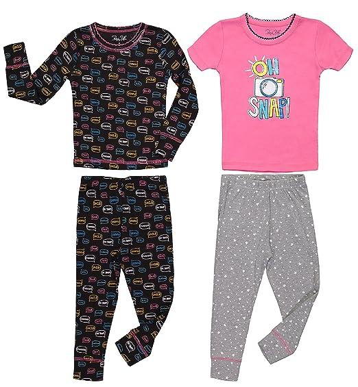 d952370f0e82 Amazon.com  Girls Cute Print Snug Fit Long   Short Sleeve Pajama ...