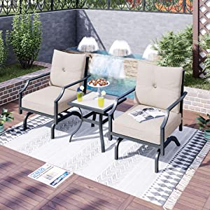 LOKATSE HOME 3 Pcs Patio Bistro Set Outdoor Conversation Furniture Metal Frame Armchair with Cushion & Square Coffee Table, Beige