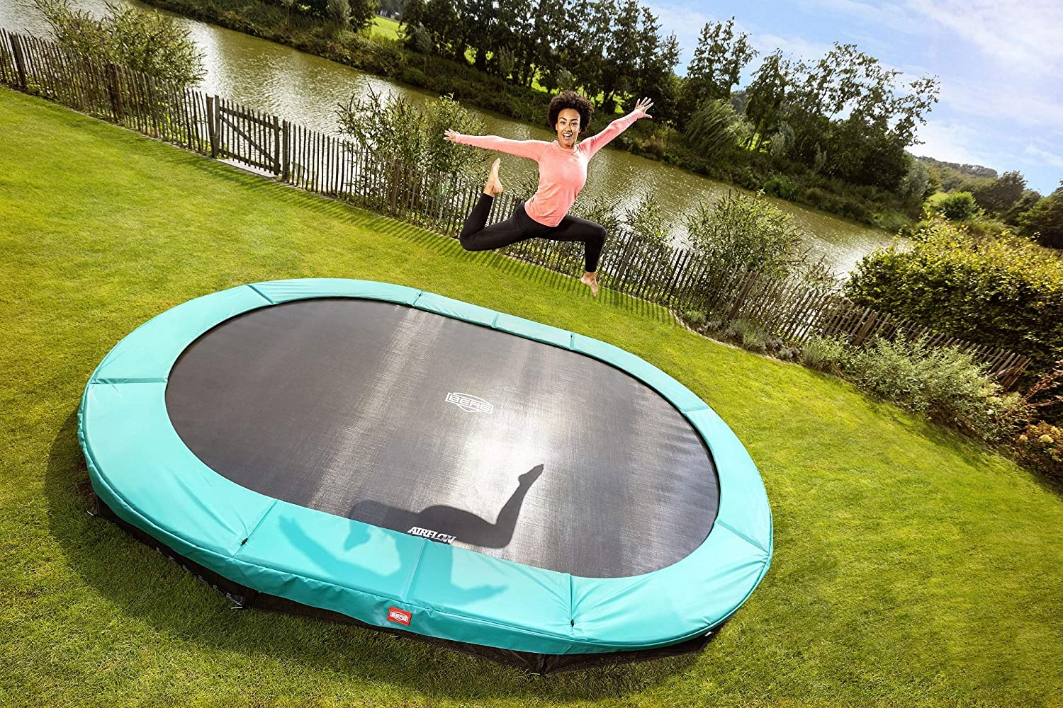 BERG Grand Champion InGround 520 Trampoline Green: Amazon.es ...
