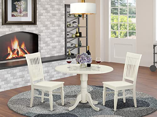 DLWE3-WHI-W 3 PC Dining room set for 2-Kitchen Table and 2 Kitchen Dining Chairs