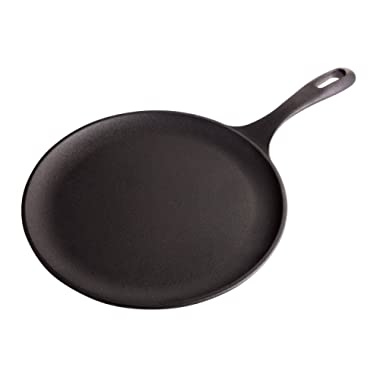 Victoria Cast Iron Comal Griddle, Round Comal Pan, Seasoned, 10.5 inch, 100% NON-GMO Flaxseed Oil Seasoning, GDL-186