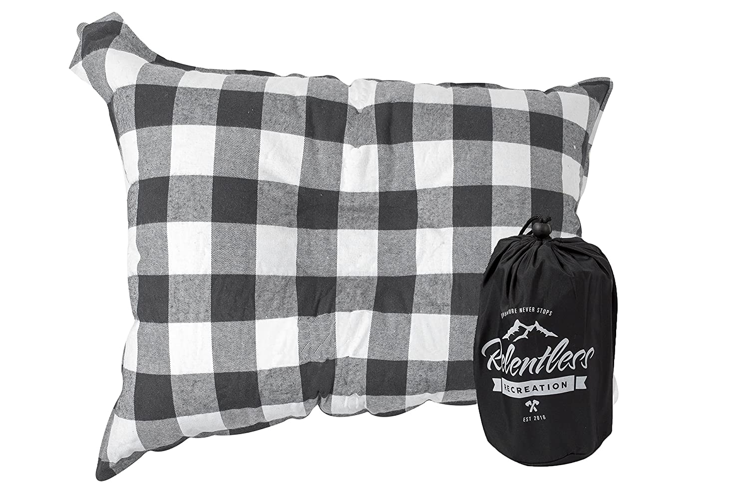 Relentless Recreation Big /& Cozy Camp Pillow The Big Ezzz Extra Large 20 in Inflatable Travel//Camping Pillow with Soft Microfiber Flannel by 14 in
