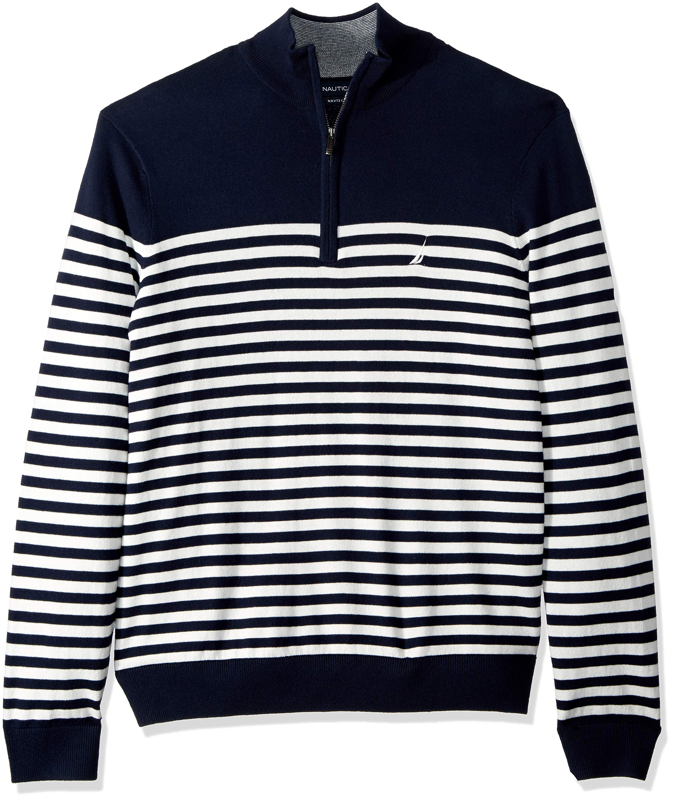 Nautica Men's Big and Tall Half-Zip Mock Neck Breton Sweater, Navy, 2X