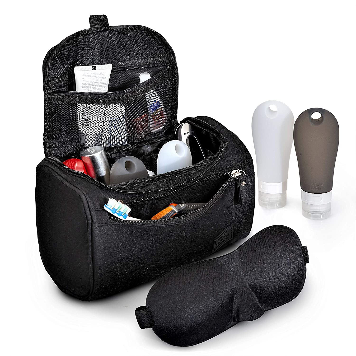Toiletry Bag For Men And Women [Small Size] – Water Resistant Organizer For Makeup, Cosmetics, Hygiene, Shaving & Grooming Accessories |Bonus Items – Two 3oz (90mL) Travel Bottles – 3D Eye Mask| Organize and Conquer Supplies