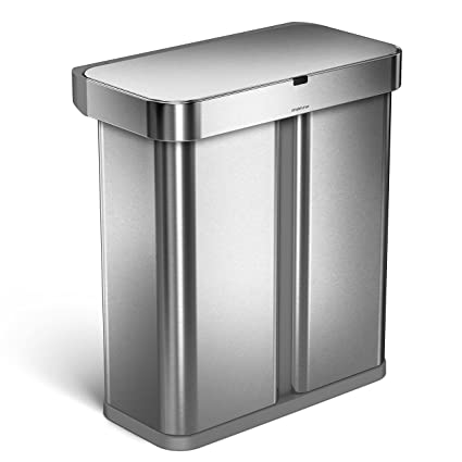 Ordinaire Simplehuman 58 Liter/15.3 Gallon Stainless Steel Touch Free Dual  Compartment Rectangular Kitchen Trash