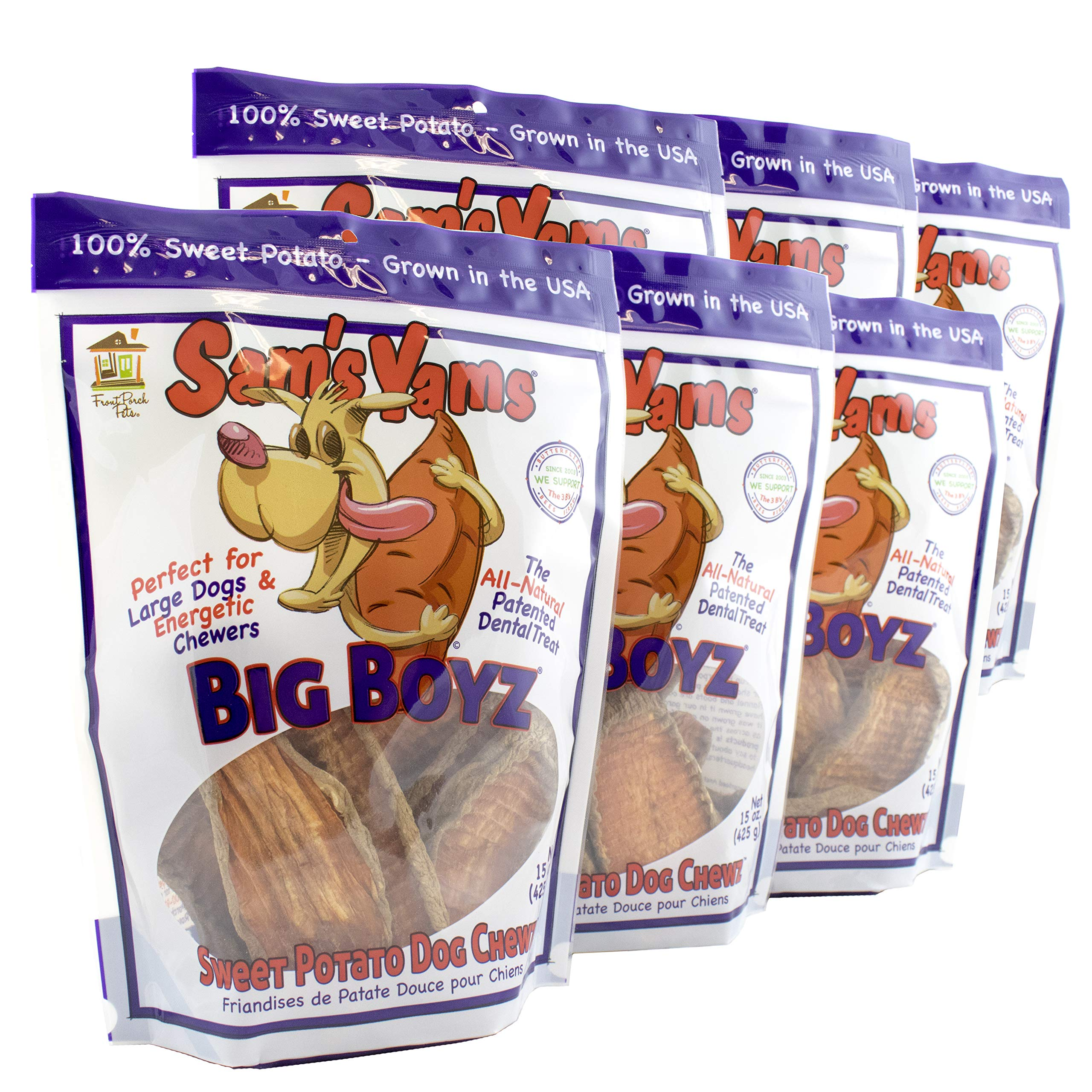 Sweet Potato Dog Chewz - 6 Pack (15 Ounces Each)- Value Pack Big Boyz by Front Porch Pets