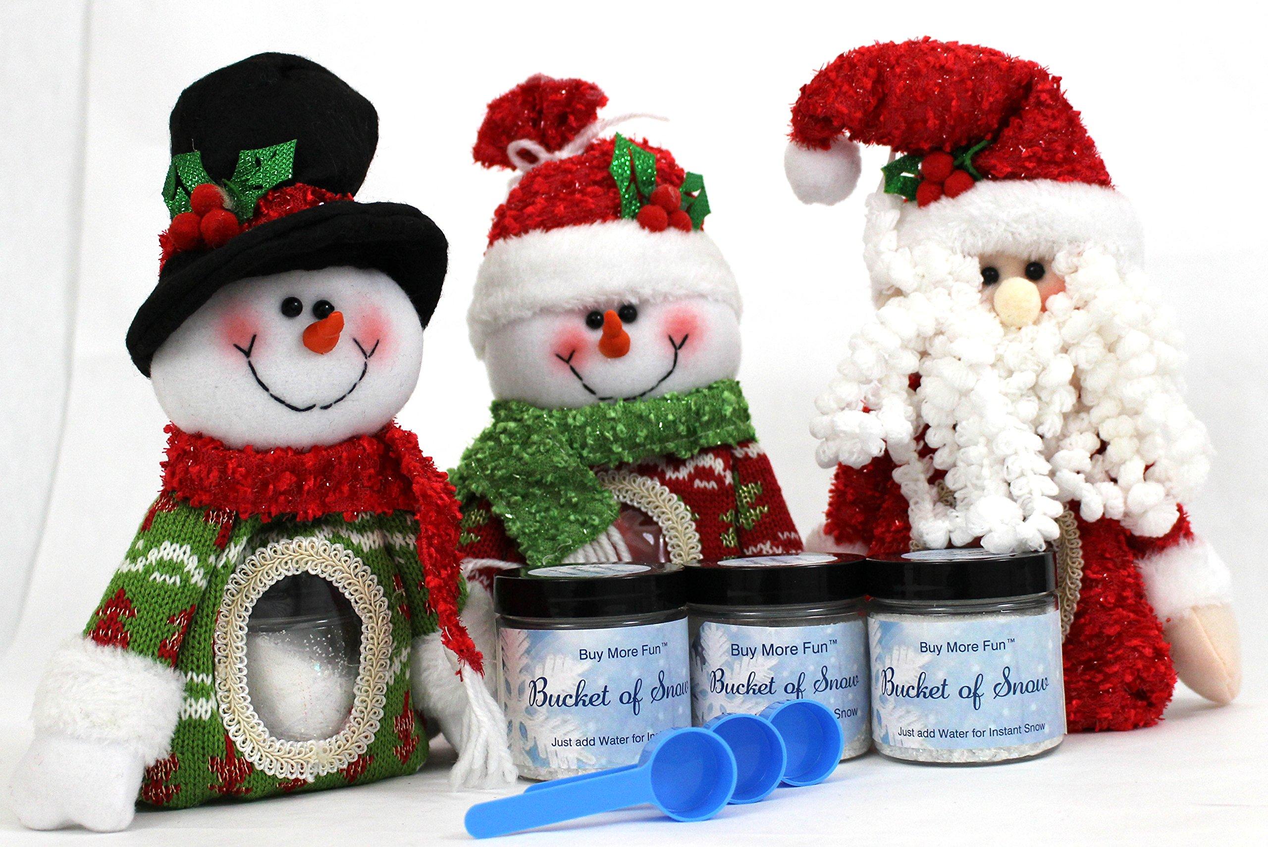 Bundle of Three Santa Snowman Stocking Stuffer Bags with 4 ounce Bucket of Snow - Glitter Snow Powder