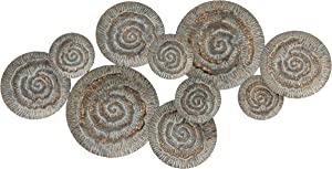 Modernist Floating Roundels, Metal Wall Sculpture, Golden Gilt, Green and Grey Patina, Whirls and Hatched Lines Details, Hand Welded and Painted, Distressed, Iron, 40.5 W Inches, Home Art Decor
