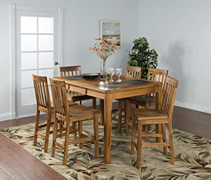 Sunny Designs Sedona 42u0026quot; Extendable Slate Dining Table In Rustic Oak