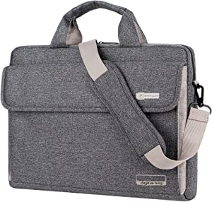 BRINCH Laptop Bag Oxford Fabric Portable Notebook Messenger Bag Shoulder Briefcase Handbag Travel Carrying Sleeve Case w/Shoulder and Luggage Strap for Men Women Compatible 15.6 Inch Laptop,Dark Grey