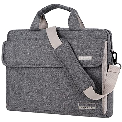 BRINCH Laptop Bag Oxford Fabric Portable Notebook Messenger Bag Shoulder Briefcase Handbag Travel Carrying Sleeve Case w/Shoulder and Luggage Strap