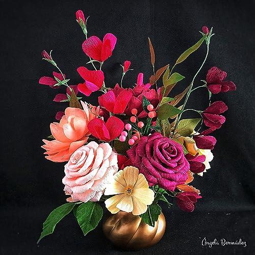 Flowers Centerpiece Crepe Paper Roses Peoniespies Amazon