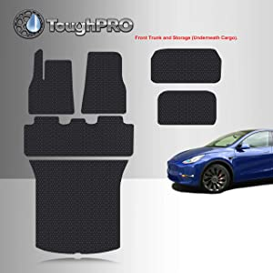TOUGHPRO Floor Mat Accessories + Frunk Mat + Storage + Cargo Mat Set Compatible with Tesla Model Y Performance - 5 Seater - All Weather - Heavy Duty - (Made in USA) - Black Rubber - 2020