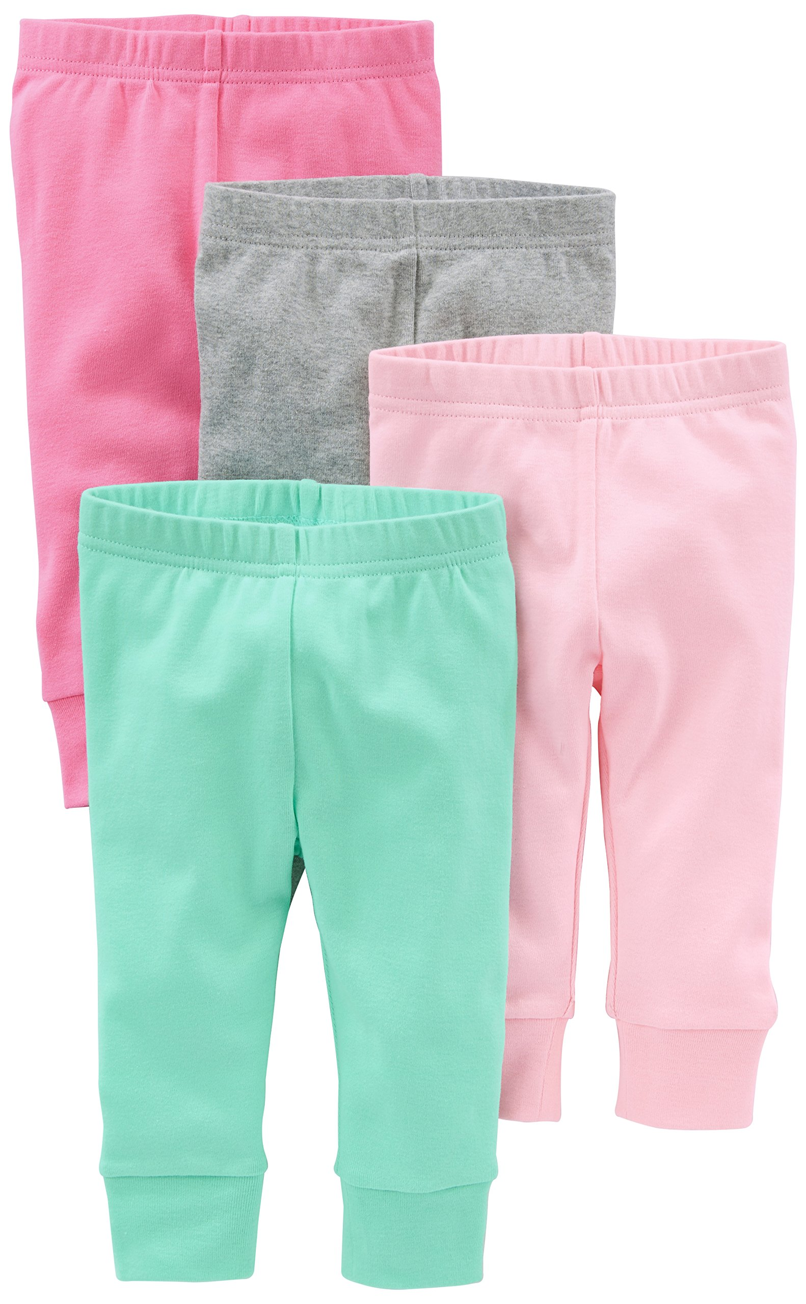 Simple Joys by Carter's Baby Girls 4-Pack Pant, Pink/Grey, 12 Months
