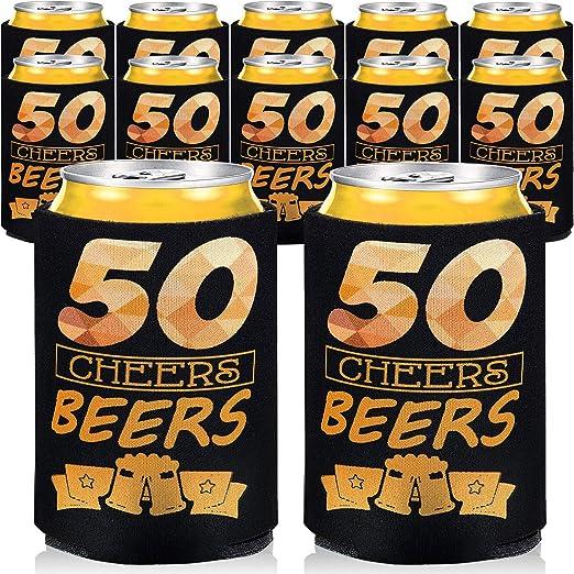 24 Piezas 50th Cumpleaños Mangas de Cerveza 50 Años Bebida ...