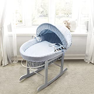 Blue Waffle Grey Wicker Padded Moses Basket & Deluxe Grey Rocking Stand