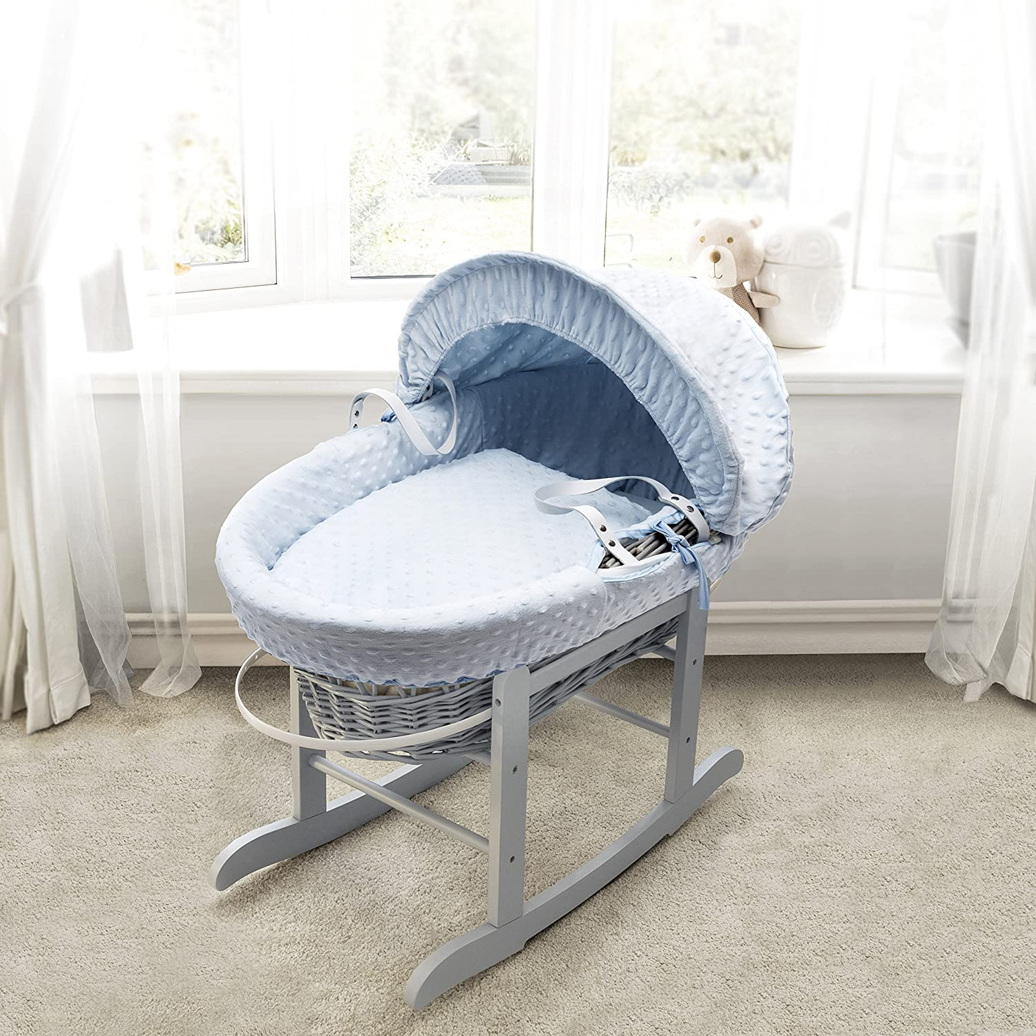 Blue Dimple Grey Wicker Padded Moses Basket & Deluxe Grey Rocking Stand Elegant Baby