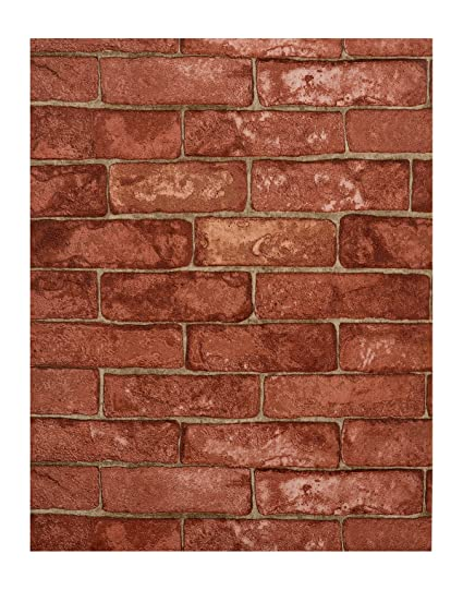 York Wallcoverings RN1032 Modern Rustic Brick Wallpaper Red Cement Tan Light