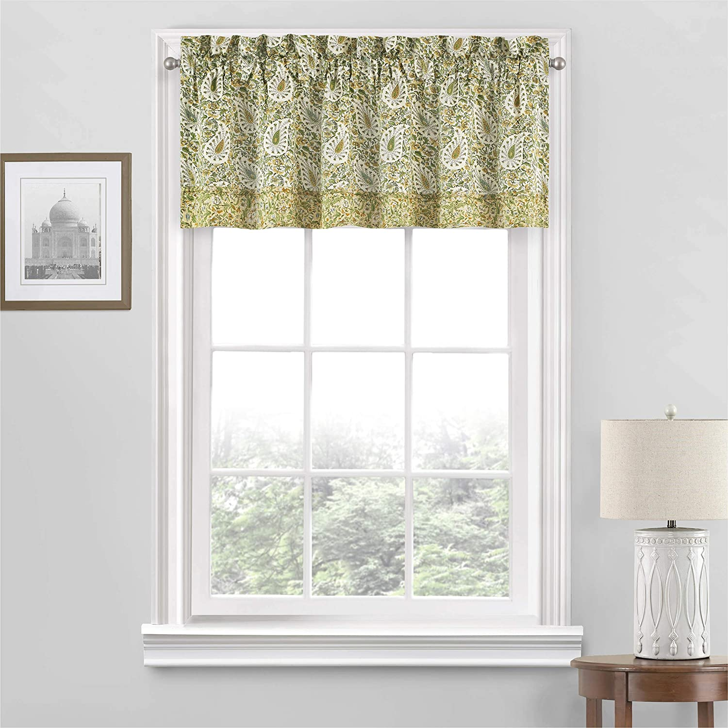 "Waverly Paisley Verveine Short Valance Small Window Curtains Bathroom, Living Room and Kitchens, 52"" x 18"", Spring"