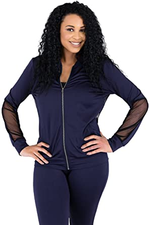 eb7aedb9ed3 Poetic Justice Curvy Womens Navy Zip Up Activewear Tracksuit Jacket Sheer  Panels Size S