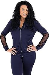 9c7a7d534 Poetic Justice Curvy Womens Navy Zip Up Activewear Tracksuit Jacket Sheer  Panels