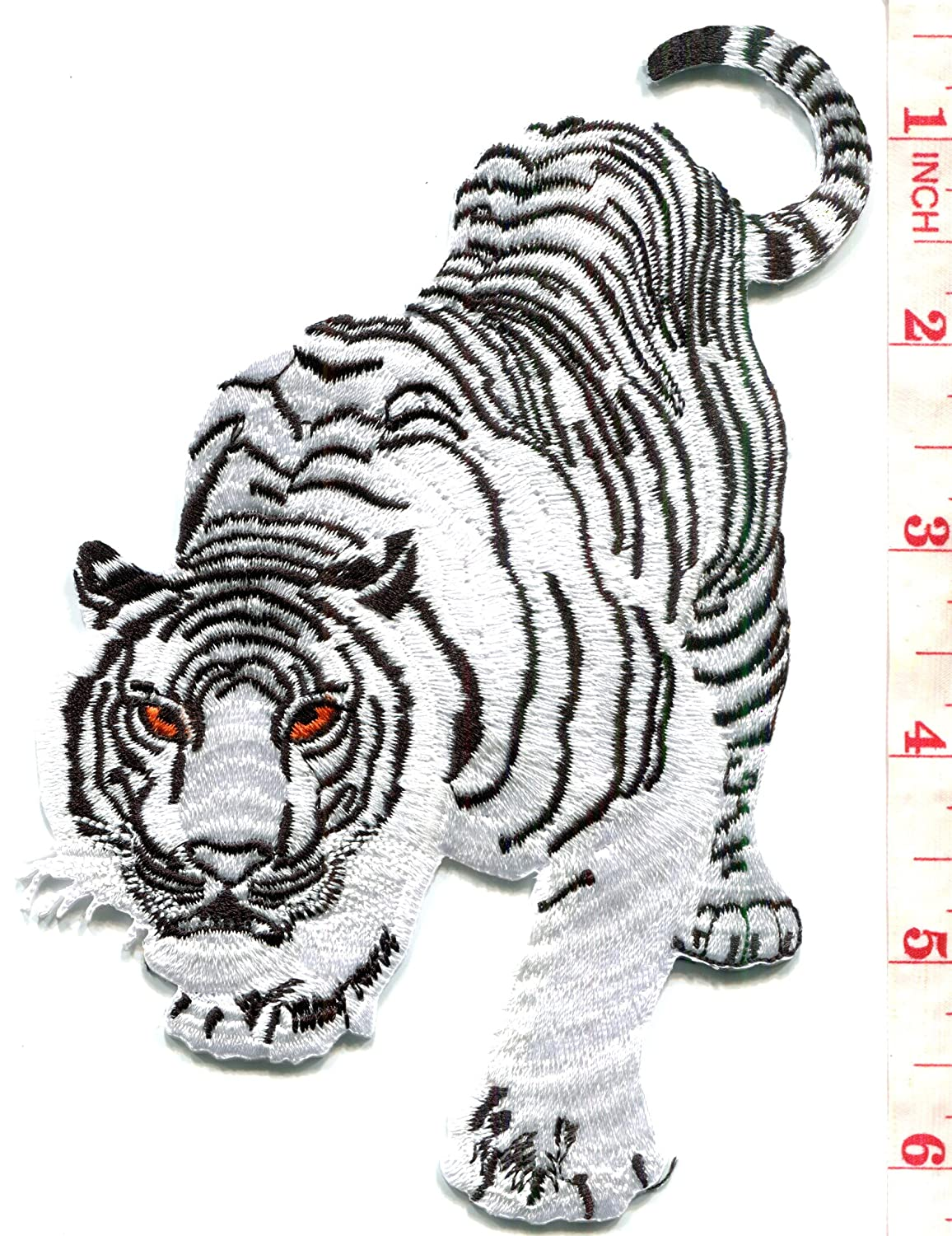 4a4564a3f6fec Amazon.com: Bengal white tiger tattoo embroidered applique iron-on patch  BIG 3.88 X 5.88 inches: Arts, Crafts & Sewing
