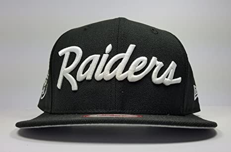 85d91bdf53c New Era Los Angeles Raiders 9Fifty Black and White Vintage Script N.W.A  Adjustable Snapback Hat NFL